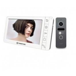 Комплект видеодомофона Tantos Amelie (White) + вызывная панель NeoLight SOLO Graphite