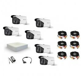 Комплект видеонаблюдения Hikvision(8)  Proffesional 6 уличных с EXIR подсветкой 80м