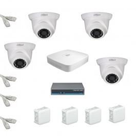 IP Комплект видеонаблюдения Dahua Ultra HD 4купольные (металл)