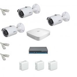 IP Комплект видеонаблюдения Dahua Ultra HD 3 цилиндра (металл)