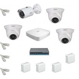 IP Комплект видеонаблюдения Dahua Ultra HD 1уличн-3купол (металл)