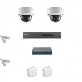 IP Комплект видеонаблюдения Hikvision Standart 2купольные (металл)