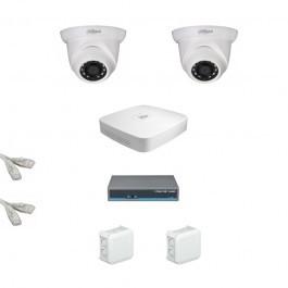 IP Комплект видеонаблюдения Dahua Ultra HD 2купольные (металл)