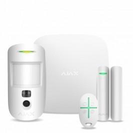 Стартовый комплект системы безопасности с фотоверификацией тревог и поддержкой LTE Ajax StarterKit Cam Plus White