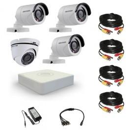 Комплект видеонаблюдения Hikvision Proffesional 3 уличн - 1 купол (металл)