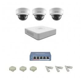 IP Комплект видеонаблюдения Hikvision Standart 3купольные (металл)