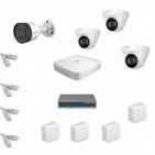 IP Комплект видеонаблюдения Dahua 4MP (2K) Ultra HD 1уличн-3купол(металл)