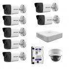 IP Комплект видеонаблюдения Hikvision(8) 2MP (FullHD) 7уличн-1купол