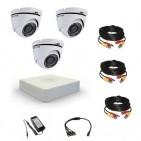 Комплект видеонаблюдения Hikvision Standart 3 купольные (металл)