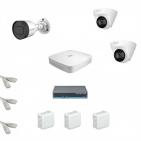 IP Комплект видеонаблюдения Dahua 4MP (2K) Ultra HD 1уличн-2купол(металл)