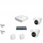 IP Комплект видеонаблюдения Dahua 4MP (2K) Ultra HD 2купольные(металл)