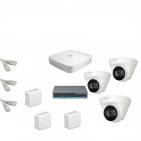 IP Комплект видеонаблюдения Dahua 4MP (2K) Ultra HD 3купольные(металл)
