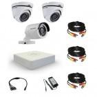 Комплект видеонаблюдения Hikvision Professional 1 уличн - 2 купол (металл)