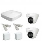 IP Комплект видеонаблюдения Dahua 4MP (2K) Ultra HD POE 2купольные(металл)