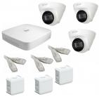 IP Комплект видеонаблюдения Dahua 4MP (2K) Ultra HD POE 3купольные(металл)