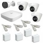 IP Комплект видеонаблюдения Dahua 4MP (2K) Ultra HD POE 1уличн-3купол(металл)