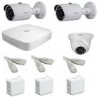IP Комплект видеонаблюдения Dahua Ultra HD POE 2 уличн -1 купол (металл)