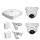 IP Комплект видеонаблюдения Dahua Ultra HD POE 2 купольные (металл)