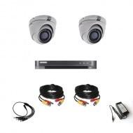 Комплект видеонаблюдения Hikvision Ultra HD 2 купольные (металл)