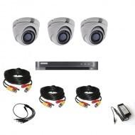 Комплект видеонаблюдения Hikvision Ultra HD 3 купольные (металл)