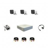Комплект видеонаблюдения Hikvision Proffesional с микрофоном 3уличные (металл)