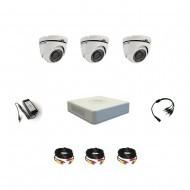 Комплект видеонаблюдения Hikvision Professional 3 купольные (металл)