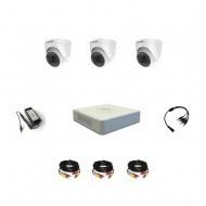 Комплект видеонаблюдения Hikvision Proffesional с микрофоном 3купольные(металл)