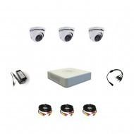 Комплект видеонаблюдения Hikvision Turbo HD 5Мп 3купольные(металл)