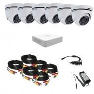 Комплект видеонаблюдения Hikvision(8) Proffesional 6 уличных купольных (металл)
