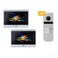 Комплект Видеодомофонов ATIS AD-740HD S-Black и вызывной панели на 2 абонента ATIS AT-402HD Silver