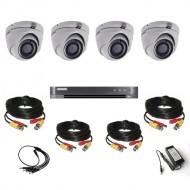Комплект видеонаблюдения Hikvision Ultra HD 4 купольные (металл)
