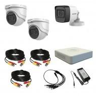 Комплект видеонаблюдения Hikvision Proffesional с микрофоном 1уличн-2купол(металл)