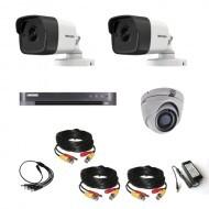 Комплект видеонаблюдения Hikvision Ultra HD 2уличн - 1купол (металл)