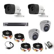 Комплект видеонаблюдения Hikvision Ultra HD 2уличн - 2купол (металл)