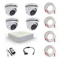 Комплект видеонаблюдения Hikvision Proffesional 4 купольные (металл)
