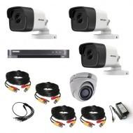 Комплект видеонаблюдения Hikvision Ultra HD 3уличн - 1купол (металл)