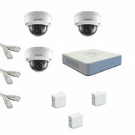 IP Комплект видеонаблюдения Hikvision Standart POE 3купольные(металл)