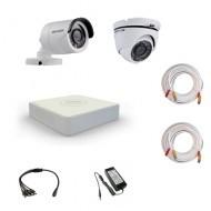 Комплект видеонаблюдения Hikvision Proffesional 1 уличн - 1 купол (металл)