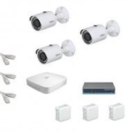 IP Комплект видеонаблюдения Dahua Standart HD 3 цилиндра (металл) Камера на 2 мп
