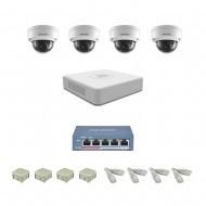 IP Комплект видеонаблюдения Hikvision Standart 4купольные (металл)