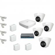 IP Комплект видеонаблюдения Dahua 4MP (2K) Ultra HD 4купольные(металл)
