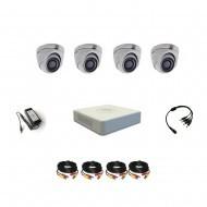 Комплект видеонаблюдения Hikvision Turbo HD 5Мп 4купольные(металл)