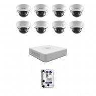 IP Комплект видеонаблюдения Hikvision(8) 2MP (FullHD) 8 купол