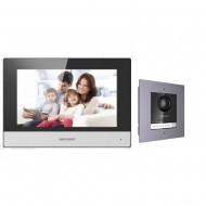Комплект IP домофона Hikvision DS-KH6320-WTE1 + вызывная панель c врезной рамкой DS-KD8003-IME1/FLUSH