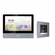 Комплект IP домофона Hikvision DS-KH8350-WTE1 + вызывная панель c врезной рамкой DS-KD8003-IME1/FLUSH