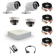 Комплект видеонаблюдения Hikvision 2 уличн - 2 внутр - 8-канальный регистратор