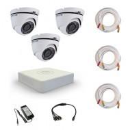 Комплект видеонаблюдения Hikvision Proffesional 3 купольные (металл)