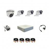 Комплект видеонаблюдения Hikvision Professional 3 уличн - 1 купол (металл)