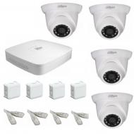 IP Комплект видеонаблюдения Dahua Ultra HD POE 4 купольные (металл)
