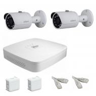 IP Комплект видеонаблюдения Dahua Ultra HD POE 2 цилиндра (металл)